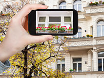 Tourist photographs of facade of house in Berlin Royalty Free Stock Photo