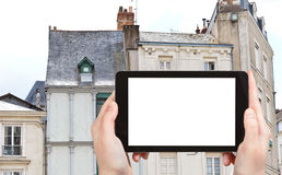 Tourist photographs of facades of medieval houses Royalty Free Stock Photo
