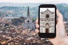 Tourist photographs Florence skyline with Basilica Stock Photography