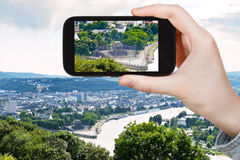 Tourist photographs of German Corner in Koblenz Royalty Free Stock Photos