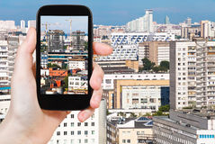 Tourist photographs of houses in Moscow city Royalty Free Stock Image
