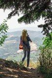 A tourist photographs the the landscape of San Marino Royalty Free Stock Photography