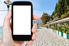 Tourist photographs of Massandra street, Yalta Royalty Free Stock Photos