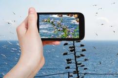 Tourist photographs of mediterranean sea, Spain Stock Photos
