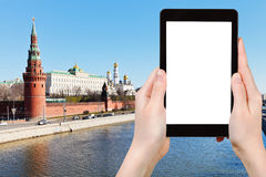 Tourist photographs Moscow cityscape with Kremlin Royalty Free Stock Photos
