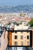 Tourist photographs of old town of Nice, France Stock Photo