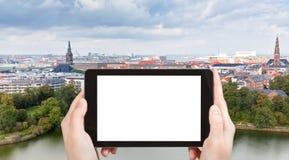 Tourist photographs of panorama of Copenhagen city Stock Photos