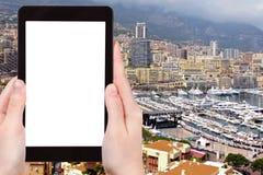 Tourist photographs panorama of Monaco city Royalty Free Stock Images