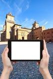 Tourist photographs of Piazza Castello in Ferrara Royalty Free Stock Photos