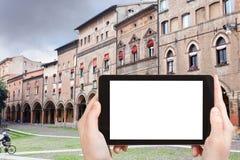 Tourist photographs Piazza Santo Stefano, Bologna Stock Images