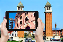 Tourist photographs of Placa Espanya, Barcelona Stock Image