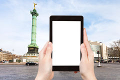 Tourist photographs of Place de la Bastille Paris Stock Image