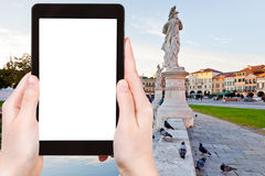 Tourist photographs of Prato della Valle in Padua Royalty Free Stock Photos
