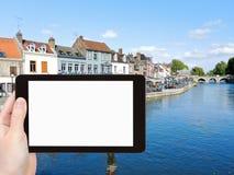 Tourist photographs of Quai Belu in Amiens city Stock Images
