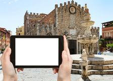 Tourist photographs Quattro Fontane di Taormina Stock Photo