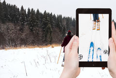 Tourist photographs of ski run in snow Stock Photos