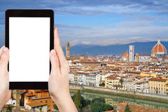 Tourist photographs skyline of Florence city Stock Image