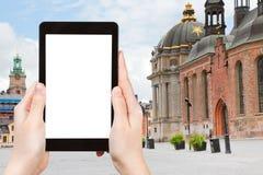 Tourist photographs of square (Birger Jarls Torg) Royalty Free Stock Image