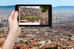 Tourist photographs of square in Marseilles city Stock Photography