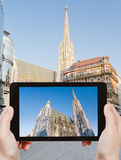 Tourist photographs St Stephan Cathedral, Vienna Stock Image