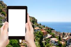 Tourist photographs of Taormina city, Sicily Royalty Free Stock Photos