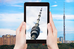 Tourist photographs of television tower in Moscow Stock Photo