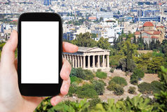 Tourist photographs Temple of Hephaestus in Athens Royalty Free Stock Image