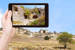 Tourist photographs of town chufut-kale, Crimea Stock Images