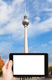 Tourist photographs of tv tower in Berlin Royalty Free Stock Image