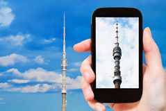 Tourist photographs of TV tower in Moscow Stock Image