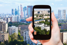 Tourist photographs of urban living area in Moscow Royalty Free Stock Image