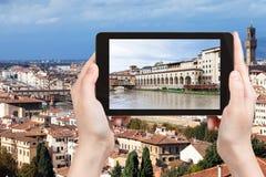 Tourist photographs vasari corridor from River Royalty Free Stock Image