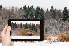 Tourist photographs wooden house in snowed forest Stock Image
