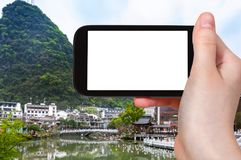 tourist photograps Yangshuo town in spring Royalty Free Stock Photography