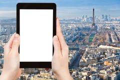 Tourist photos Paris cityscape with Eiffel Tower Stock Photography
