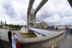 Tourist pictures of Tower Bridge Stock Photo
