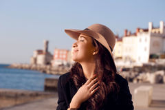 Tourist In Piran Stock Photo