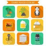 Tourist Places Icons Set Stock Photos