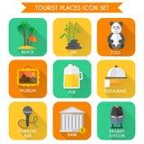 Tourist Places Icons Set Stock Photos