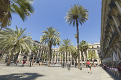 Tourist on Plaza Real in Barcelona, Spain Stock Photo