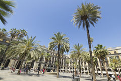 Tourist on Plaza Real in Barcelona, Spain Stock Photos