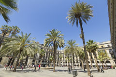 Tourist on Plaza Real in Barcelona, Spain Stock Photography