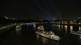 Tourist pleasure boats on Moskva River at night. Moscow, Russia stock video footage