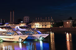 Tourist pleasure yachts on the Moscow River Stock Images