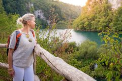 Tourist in Plitvice Lakes National Park Stock Image