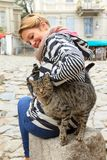 Tourist Plovdiv with a cat Royalty Free Stock Photos