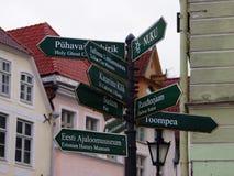 Tourist pointer to the streets of old Tallinn, Estonia Stock Photography