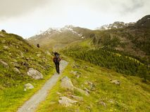 Tourist with poles and big backpack is walking on rocky path and watching into Alpine valley. Royalty Free Stock Photos
