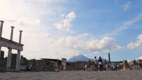 Tourist in Pompeii forum stock video footage