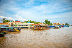 Tourist port is  tp. My Tho in Mekong, Vietnam. Royalty Free Stock Photo